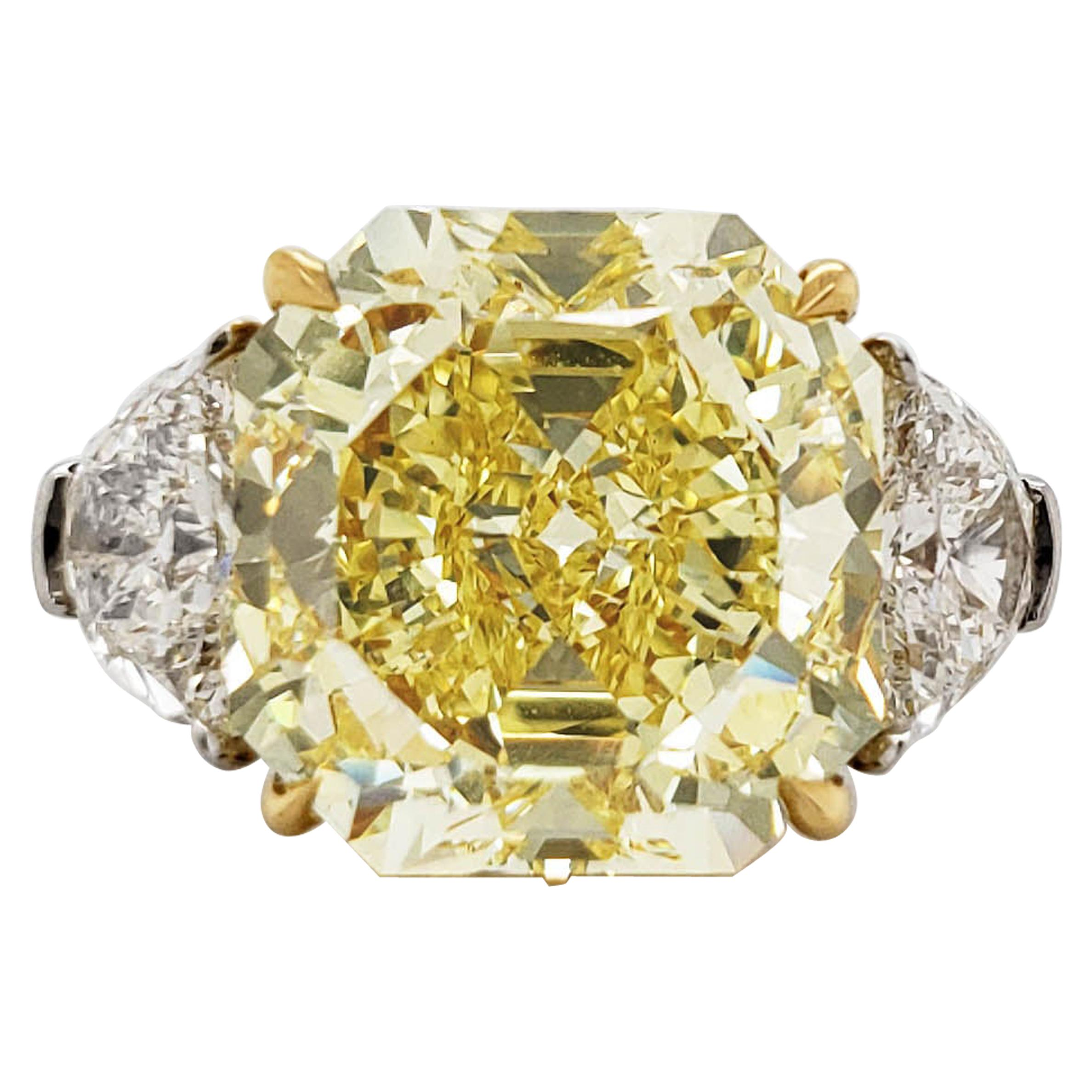 Scarselli 10 Carat Fancy Intense Yellow Internally Flawless Radiant Diamond Ring