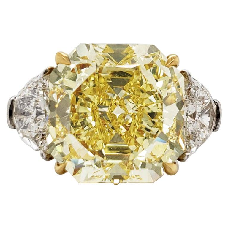 Scarselli 10 Carat Fancy Intense Yellow Internally Flawless Radiant Diamond Ring For Sale