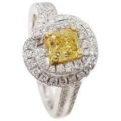 Scarselli 1.00 Carat Fancy Yellow Natural Diamond GIA in 18k Gold Statement Ring