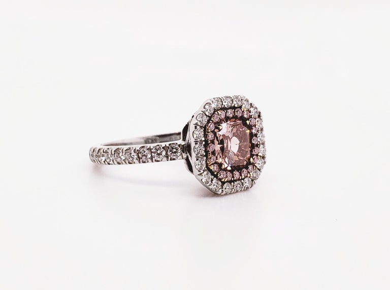 Radiant Cut Scarselli 1.02 Carat Pink Diamonds in a Platinum Ring  For Sale