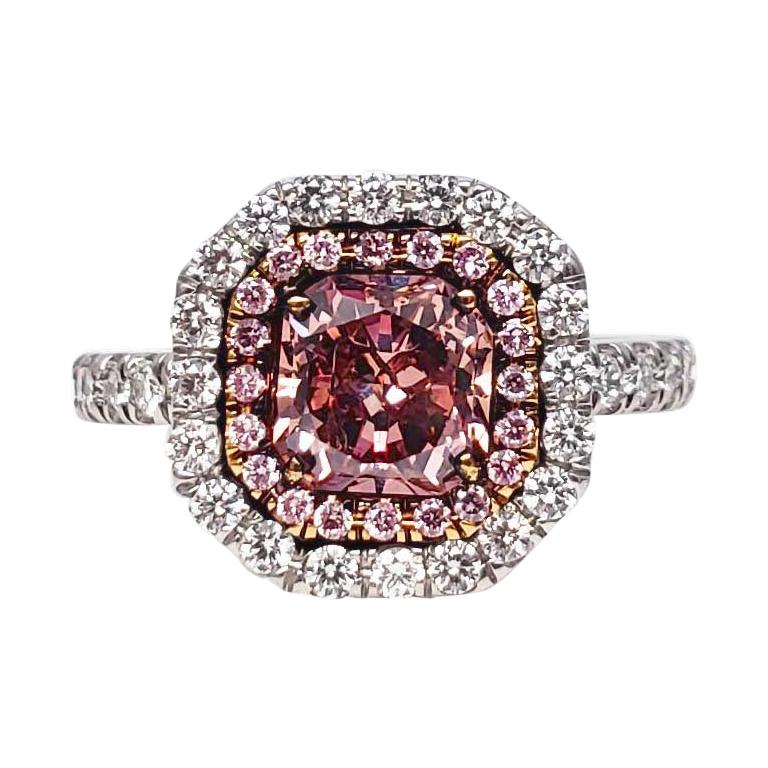 Scarselli 1.02 Carat Pink Diamonds in a Platinum Ring  For Sale