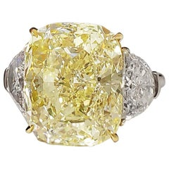 SCARSELLI 11 Carat Fancy Yellow Diamond Engagement Ring in Platinum