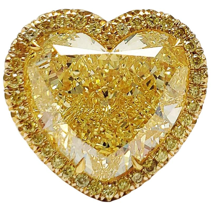 Scarselli 12 Carat Fancy Intense Yellow Heart Shape Diamond VS1 Ring GIA