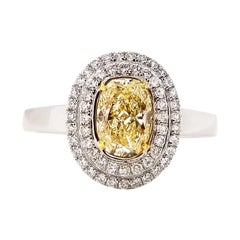 Scarselli 1.00 Carat Fancy Light Yellow Oval Halo Diamond Ring in 18 Karat White