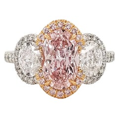 Scarselli 1.54 Carat Fancy Pink Oval Diamond Ring in Platinum and 18 Karat Gold