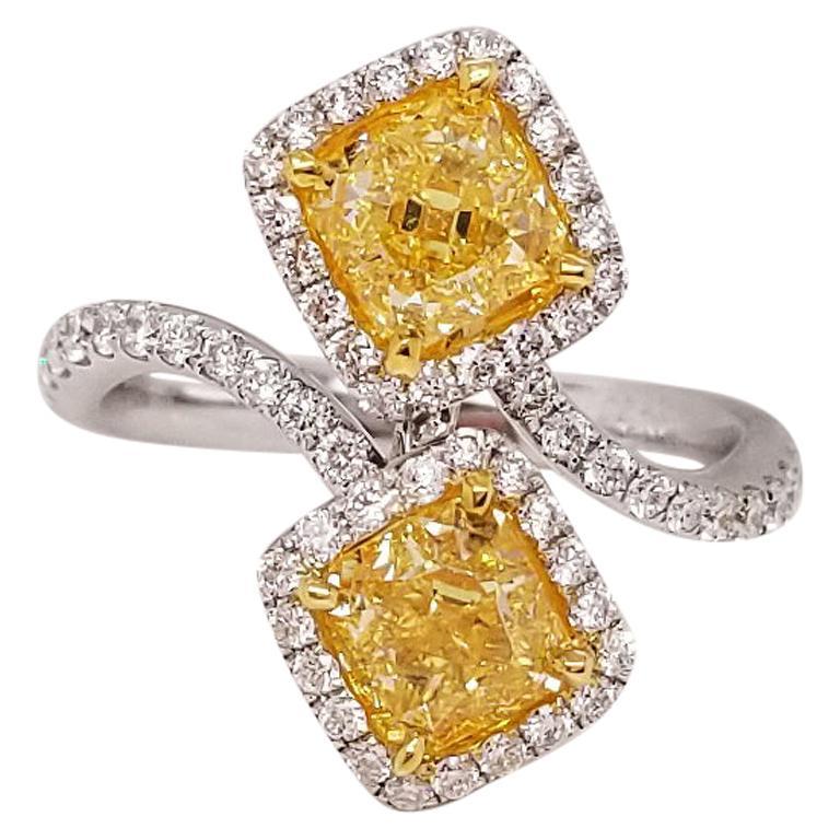 Scarselli 18 Karat Gold Fashion Ring with 2 Carat Fancy Yellow Diamonds GIA