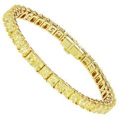 SCARSELLI 18 Karat Gold Line Bracelet Cushion Yellow Diamonds GIA