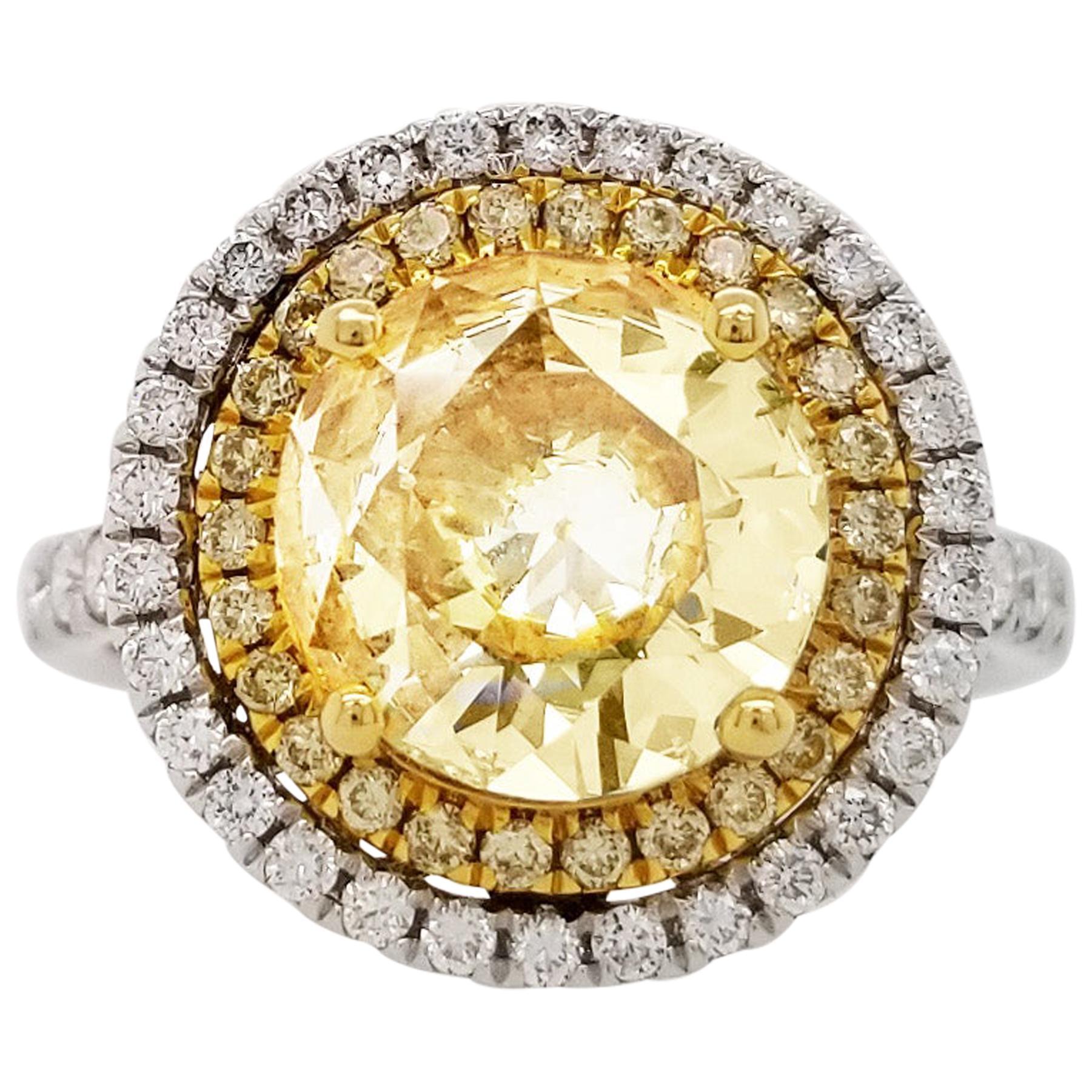 Scarselli 18 Karat Gold Ring 2 Carat Fancy Yellow Diamond GIA