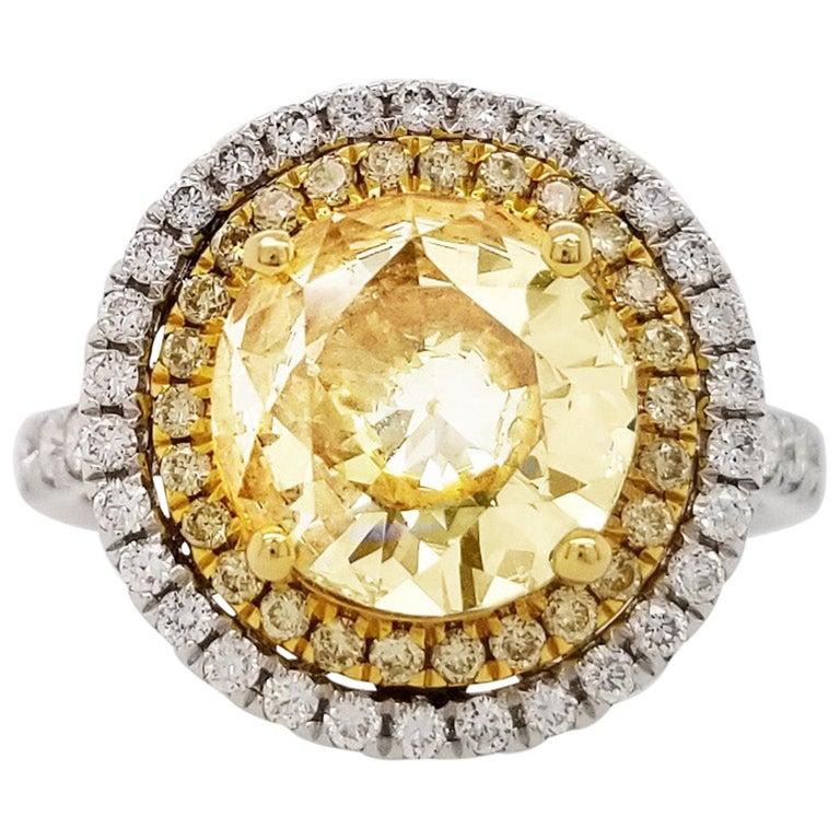 Scarselli 18 Karat Gold Ring 2 Carat Fancy Yellow Diamond GIA For Sale