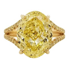 Scarselli 18 Karat Gold Ring 6 Carat Fancy Intense Yellow Oval Cut Diamond