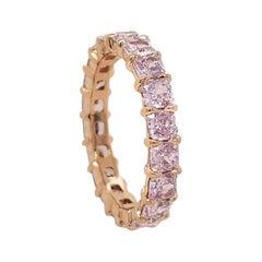 Scarselli 18k Gold Eternity Band 3 Carat Fancy Light Pink Diamonds GIA