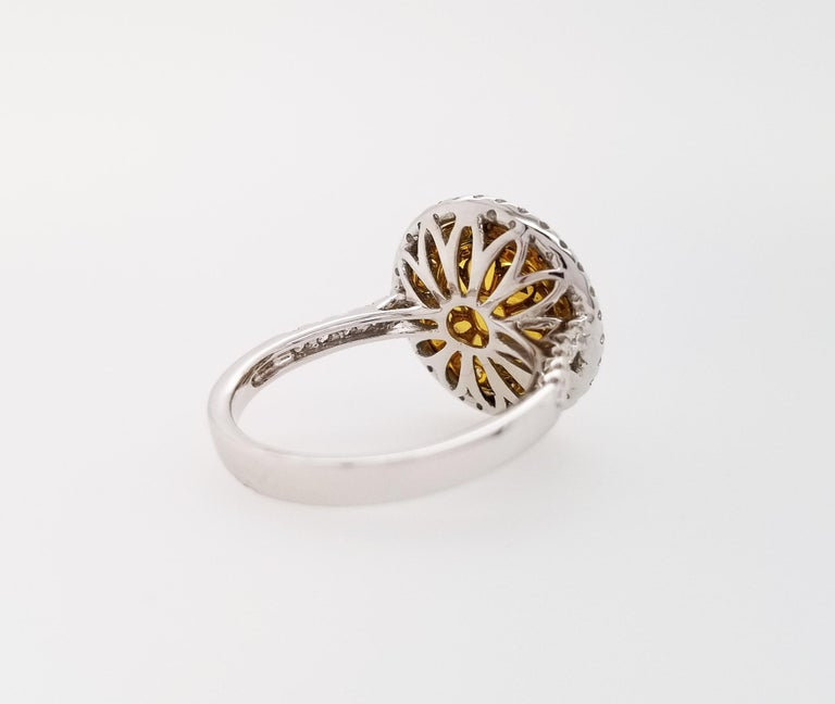 Contemporary Scarselli 18 Karat Gold Ring 2 Carat Fancy Yellow Diamond GIA For Sale