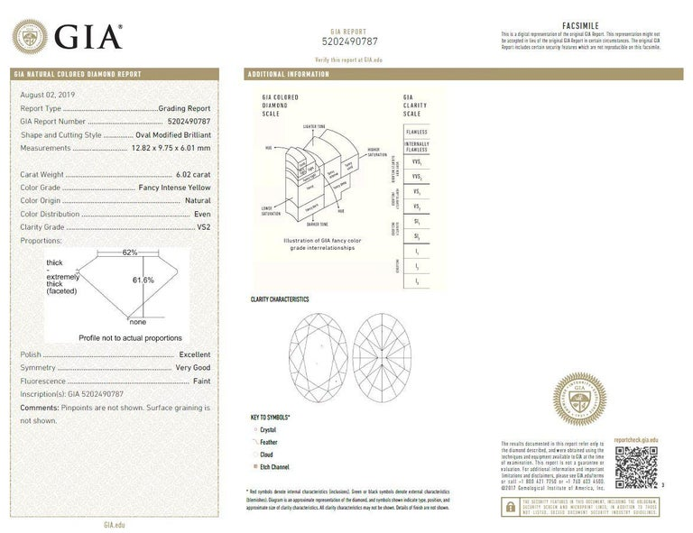 Scarselli 18 Karat Gold Ring 6 Carat Fancy Intense Yellow Oval Cut Diamond For Sale 3
