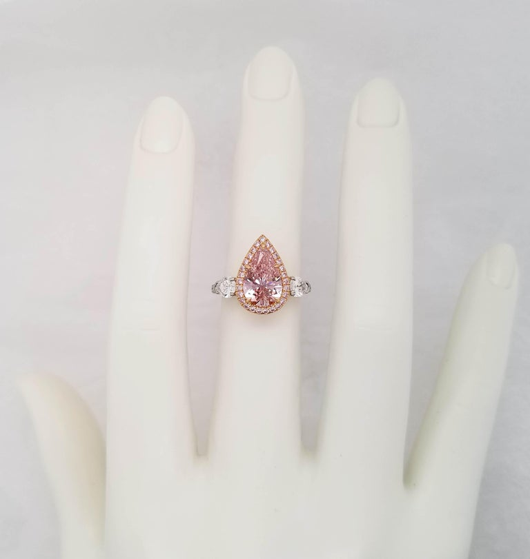 Women's Scarselli 2 Carat Pear Shape Pink Diamond Ring in Platinum and 18k Goldralds For Sale