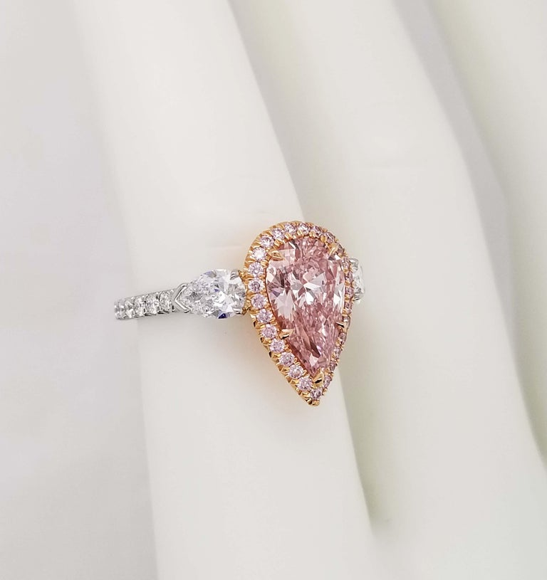 Scarselli 2 Carat Pear Shape Pink Diamond Ring in Platinum and 18k Goldralds For Sale 2