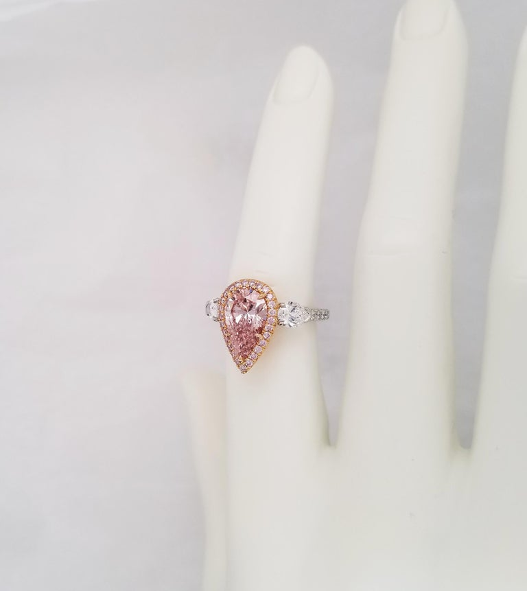 Scarselli 2 Carat Pear Shape Pink Diamond Ring in Platinum and 18k Goldralds For Sale 3