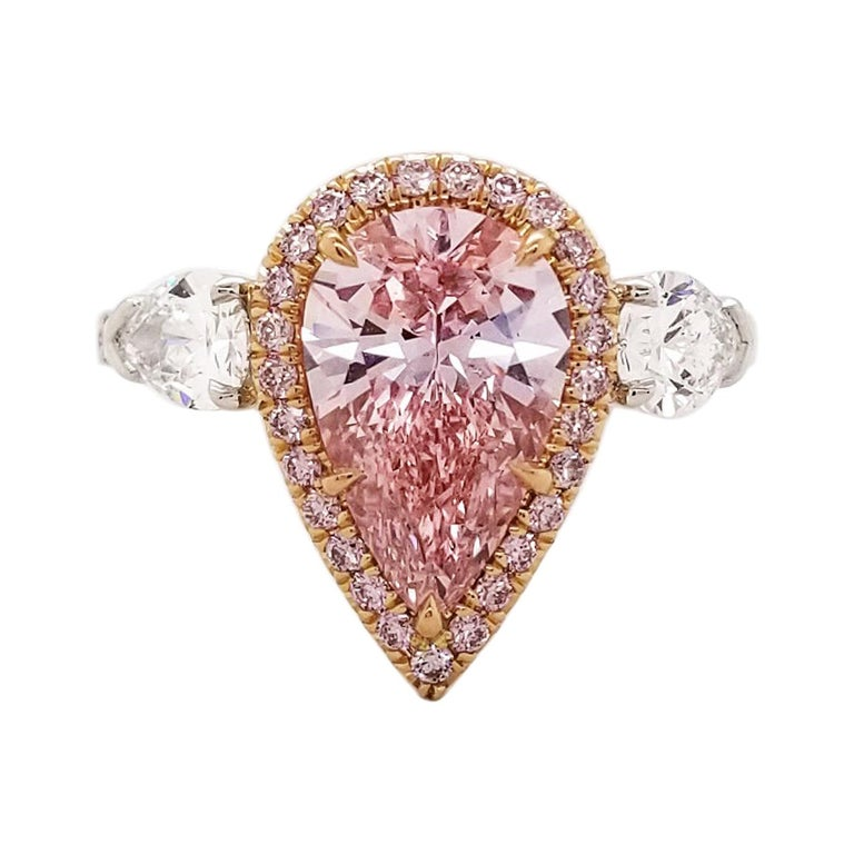Scarselli 2 Carat Pear Shape Pink Diamond Ring in Platinum and 18k Goldralds For Sale