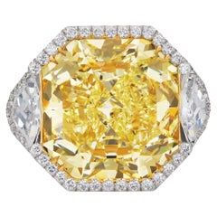 SCARSELLI 20 Carat Fancy Vivid Yellow Natural Diamond Ring GIA