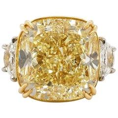 Scarselli 20 Carat Fancy Yellow Cushion Cut Diamond Ring in Platinum, GIA