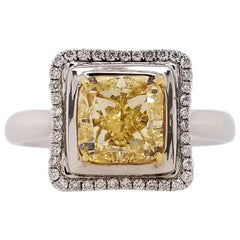 Scarselli 2 Carat Fancy Yellow Radiant Cut Diamond Engagement Ring