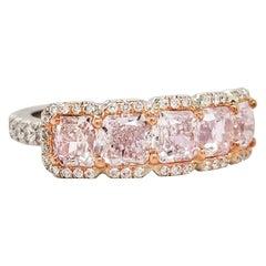 Scarselli 2.17 Pink Diamond Band Ring in Platinum & 18 Karat Gold GIA Certified