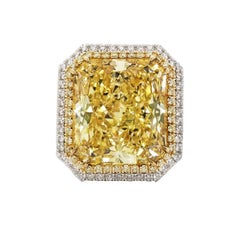 SCARSELLI 24 Carat Fancy Yellow Diamond Ring in Platinum GIA