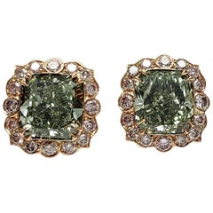 Scarselli 3 Carat Each Fancy Intense Green Earrings in Platinum, GIA