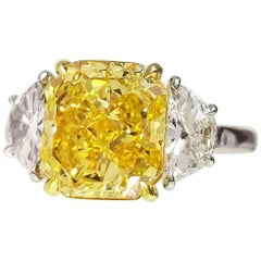 Scarselli 3 Plus Fancy Vivid Yellow Natural Diamond Engagement Platinum Ring GIA