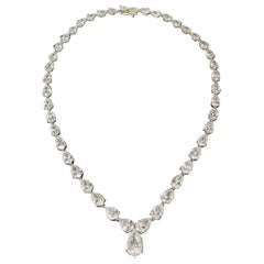 Scarselli 31 Carat Pear Cut Diamond Tennis Necklace in Platinum GIA Certified