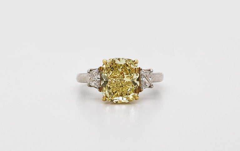 Radiant Cut Scarselli 3.80 carat Fancy Intense Yellow Cushion Cut Diamond Engagement Ring  For Sale