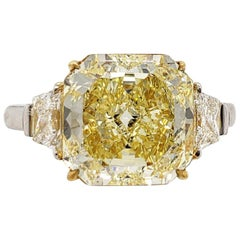 Scarselli 3.85 Carat Yellow Radiant Cut Diamond Engagement Ring in Platinum