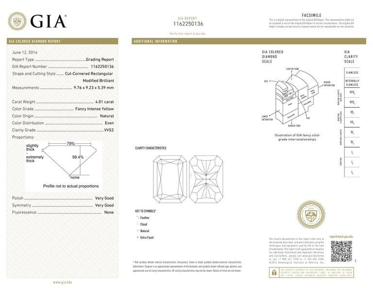 Scarselli 4 Carat Fancy Intense Yellow Radiant Diamond Ring 'VVS2' Platinum GIA For Sale 5
