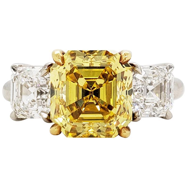 Scarselli 4 Carat Fancy Vivid Yellow Asscher Cut Diamond Ring, Platinum GIA