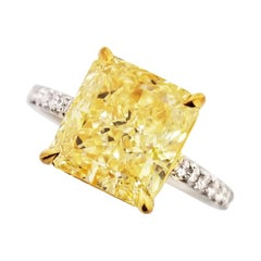 Scarselli 4 Carat Fancy Yellow Solitaire Platinum Ring