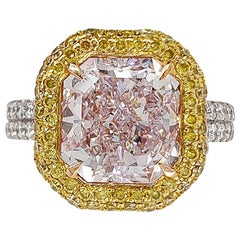 Scarselli Platinum Ring 4.33 Carat Radiant Fancy Pinkish Purple Diamond