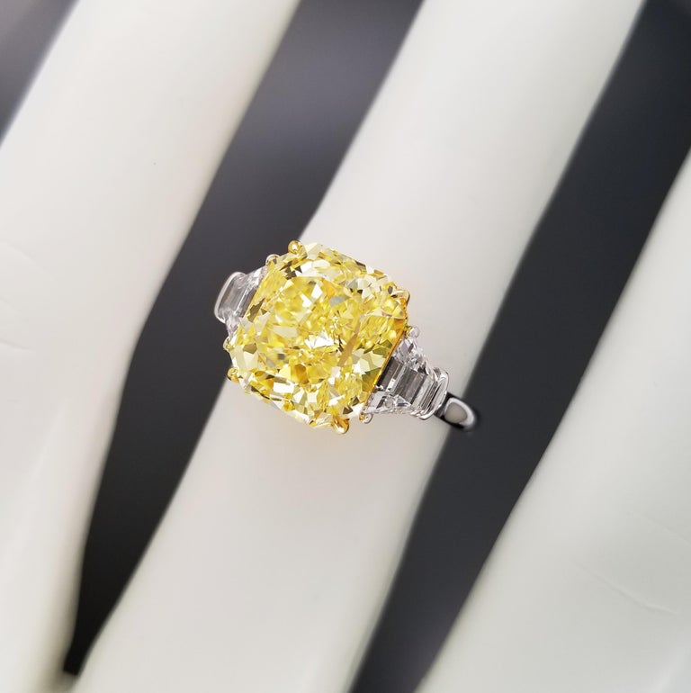 Radiant Cut Scarselli 5 Carat Fancy Intense Yellow Diamond Ring in Platinum For Sale