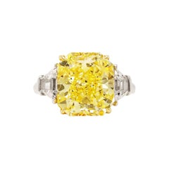 Scarselli 5 Carat Fancy Intense Yellow Diamond Ring in Platinum