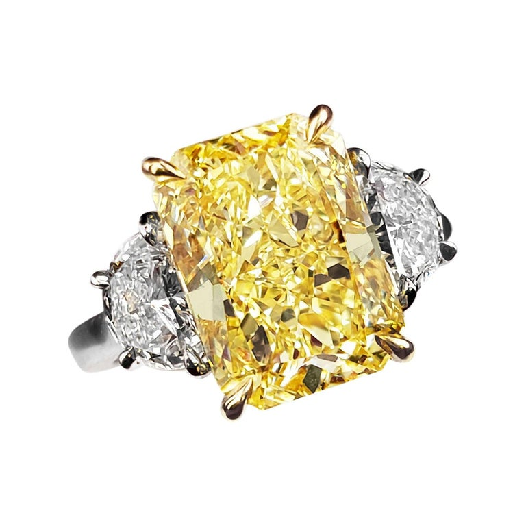 Scarselli 5 Carat Fancy Intense Yellow Diamond Ring in Platinum GIA Certified For Sale