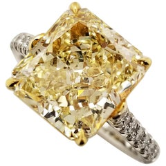 Scarselli 5 Carat Fancy Light Yellow Solitaire Platinum Ring