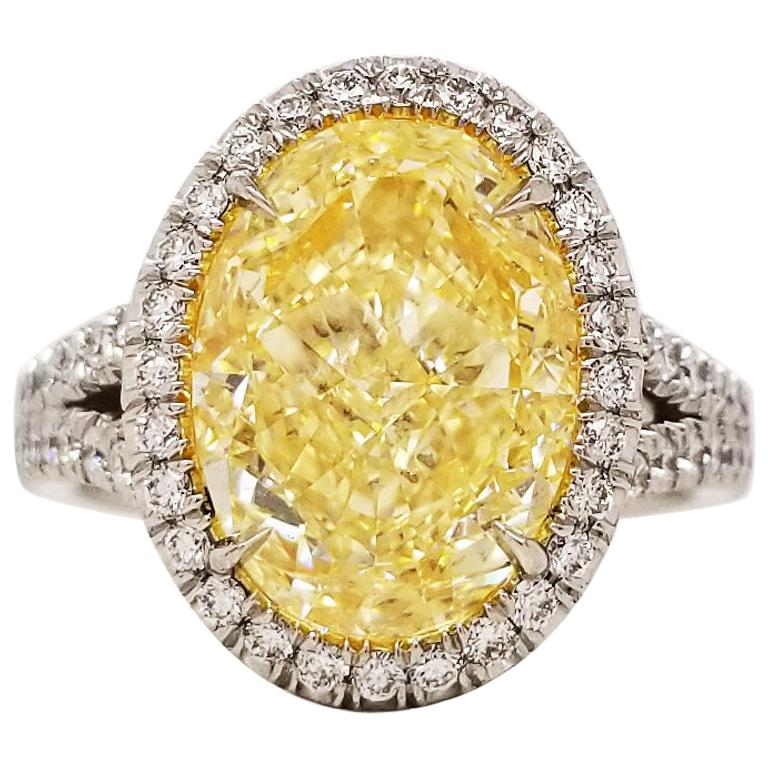 SCARSELLI 5 Carat Oval Fancy Light Yellow Diamond Engagement Ring in Platinum