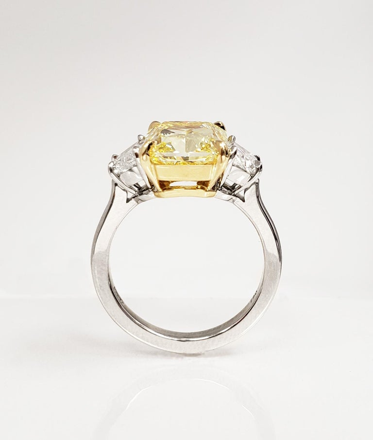 Radiant Cut Scarselli 5 Carat Fancy Intense Yellow Diamond Ring in Platinum GIA Certified For Sale