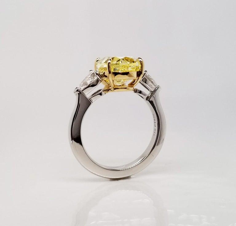 Scarselli 5 Plus Fancy Vivid Yellow Diamond Engagement Platinum Ring For Sale 1