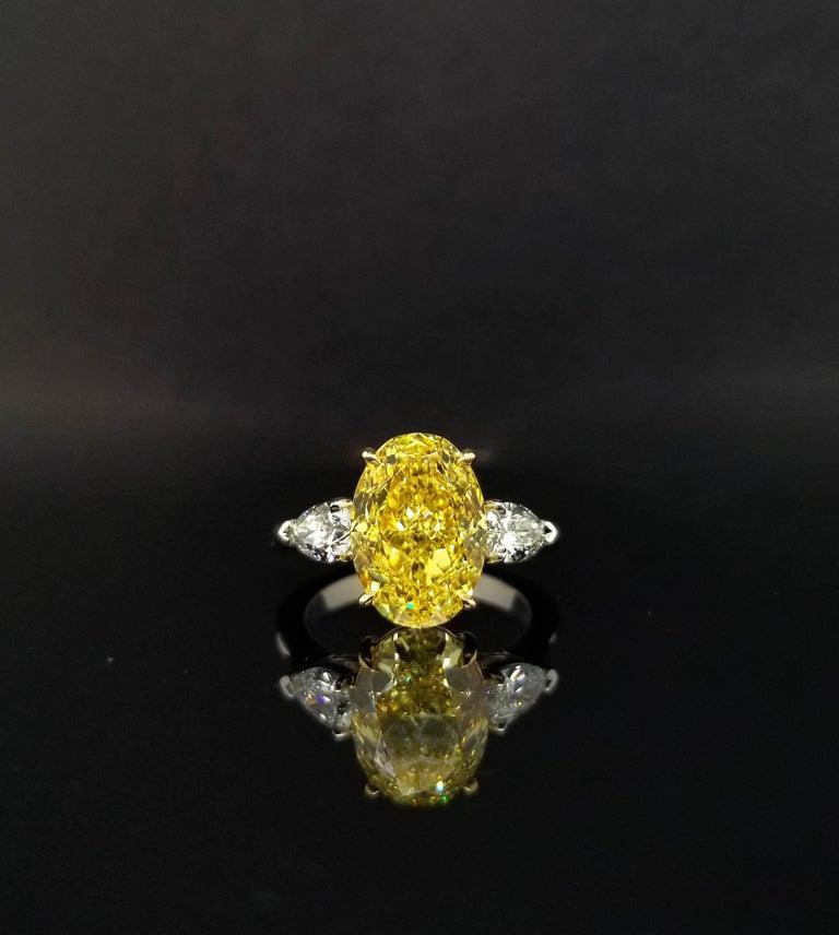 Scarselli 5 Plus Fancy Vivid Yellow Diamond Engagement Platinum Ring For Sale 2