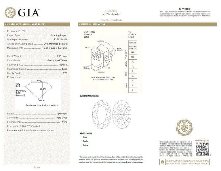 Scarselli 5 Plus Fancy Vivid Yellow Diamond Engagement Platinum Ring For Sale 3