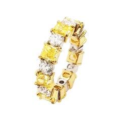 Scarselli 5.44 Carats Fancy Intense Yellow & White Diamond 18k Eternity Band