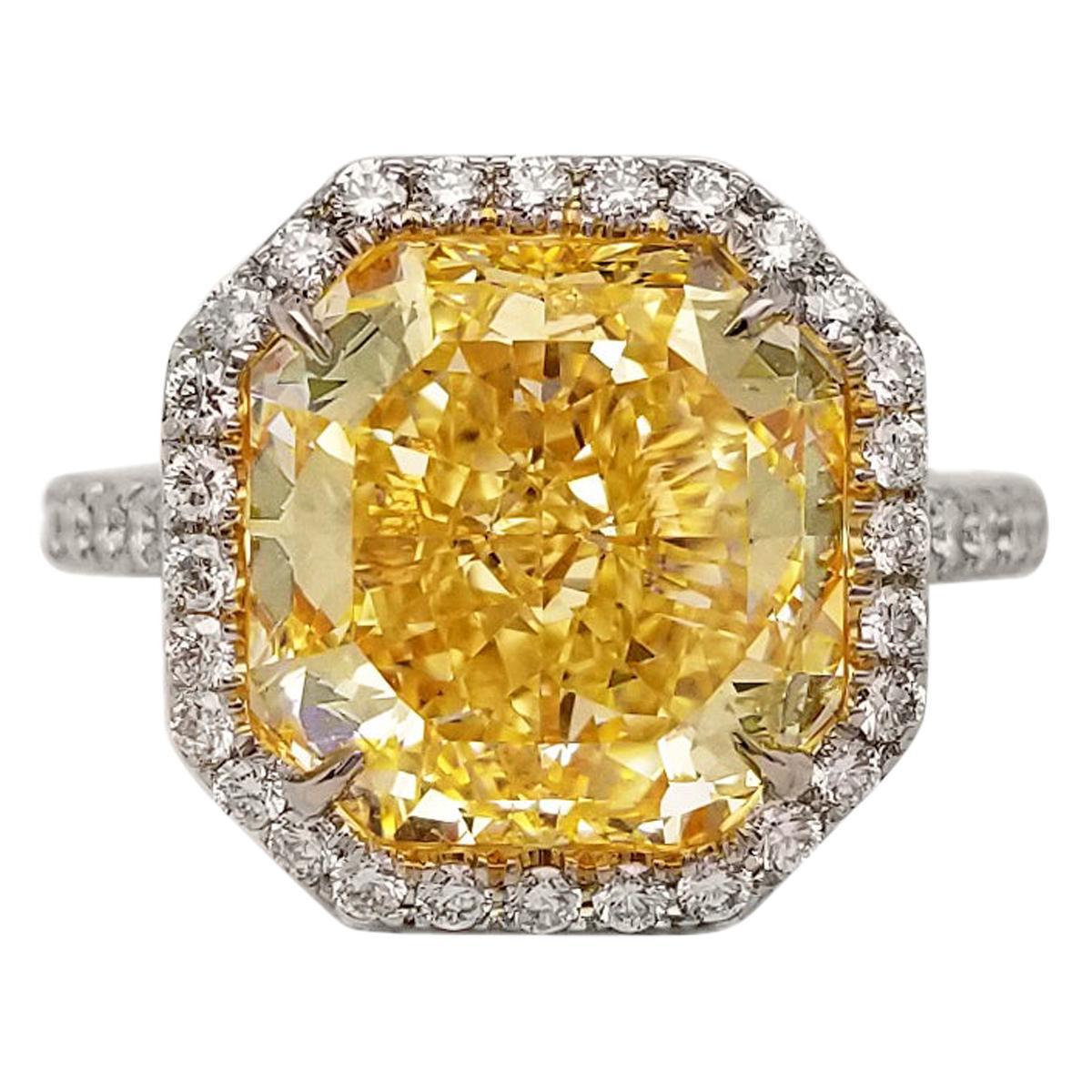 Scarselli 6 Carat Fancy Yellow Diamond Ring in Platinum