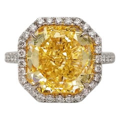 Scarselli 6 Carat Fancy Yellow Diamond Ring in Platinum