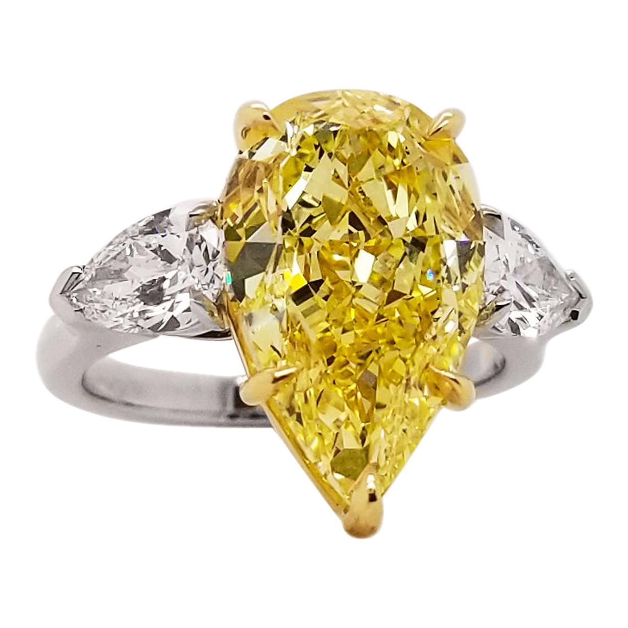 Scarselli 6 Carat Pear Shape Fancy Intense Yellow Diamond Engagement Ring