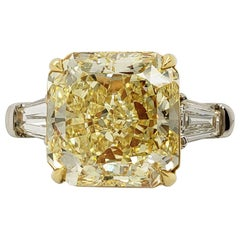 Scarselli 6.04 Fancy Intense Yellow Radiant Cut Diamond Ring in Platinum VS1 GIA