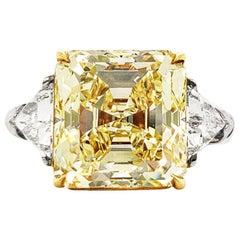 Scarselli 7 Carat Fancy Yellow Diamond Ring in Platinum